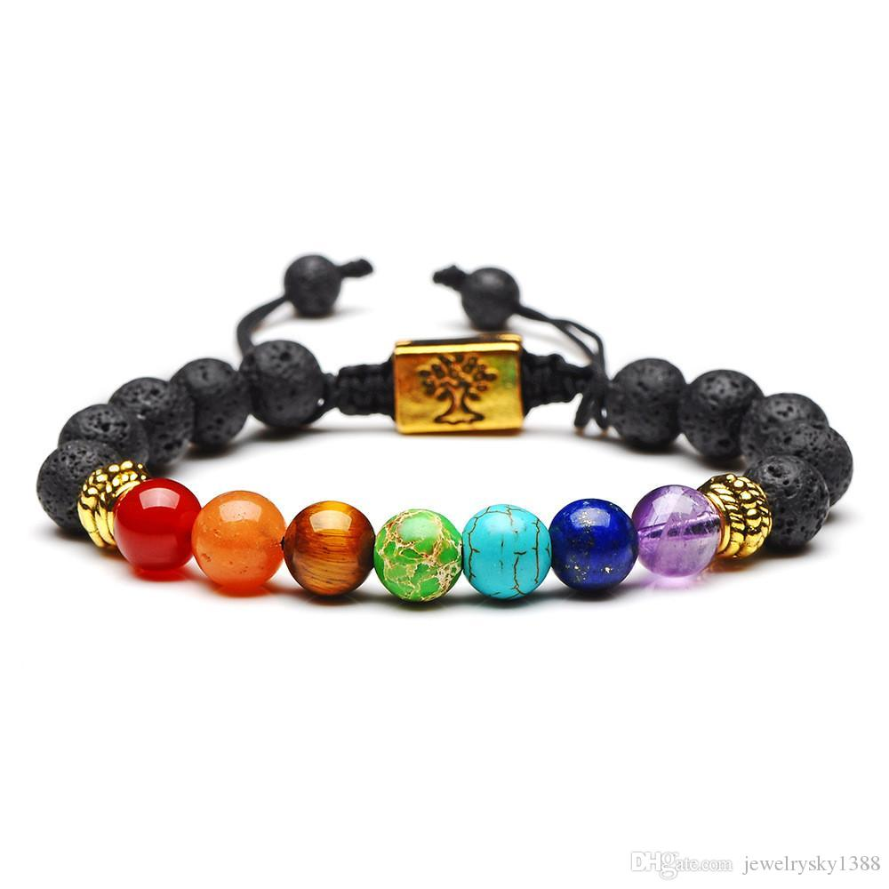 Yoga Handgemachte 7 Chakra Baum Des Lebens Charme Armbänder Lava Steine Multicolor Perlen Seil Armband Frauen Männer Armbänder Armreifen