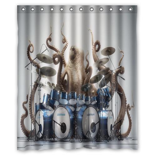 2019 Octopus Play Drums Music Funny Custom Shower Curtain Bathroom Decor Fashion Design 36x72 48x72 60x72 66x72 From Williem 2861