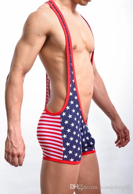 Mens Wrestling Singlete Esportivo Bodysuit Bandeira DOS EUA Stretch Leotard Estrelas Listras Macacão Underwear Bulge Pouch Jockstrap