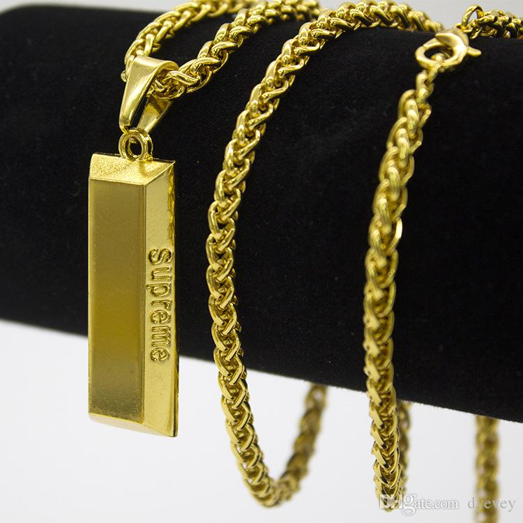 En gros De Mode Cube Bar Bullion Collier 18K Chaîne En Or Long Pendentif Hiphop Colliers Hommes Bijoux Cadeaux