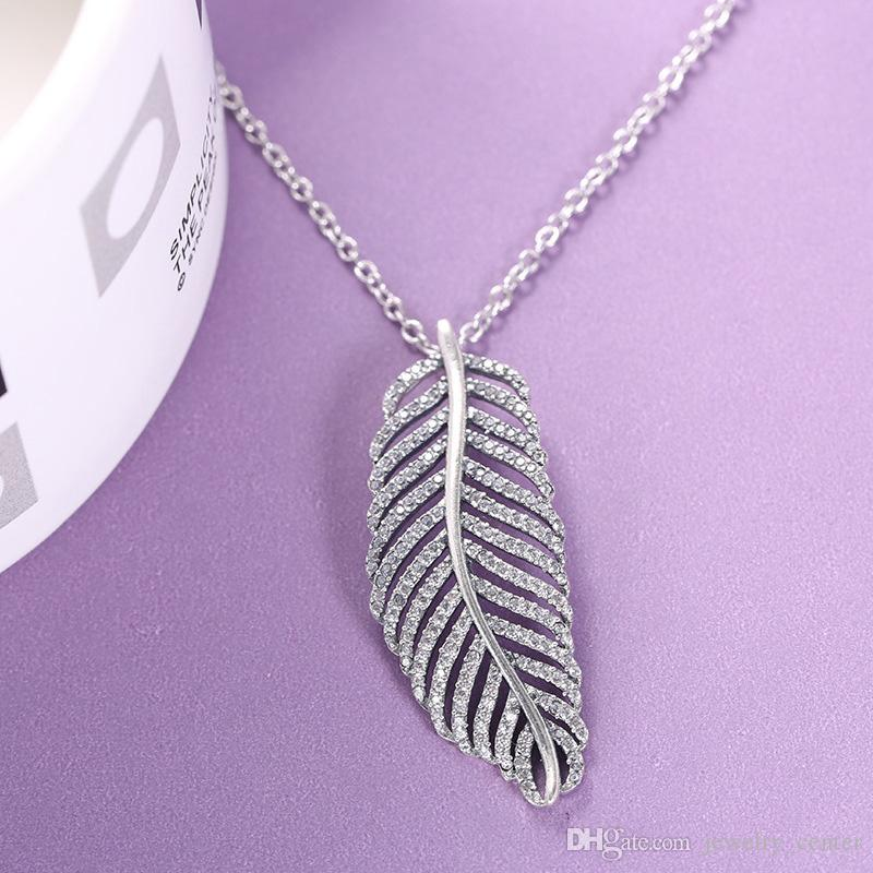 b699eed63511e8 ... czech wholesale 925 sterling silver flashing light feather crystal pendant  chain necklace fashion women gift jewelry