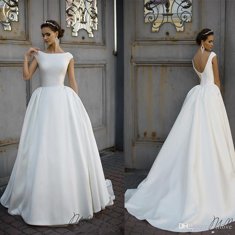 6908e252e6 Stunning Backless A Line Wedding Dresses Beatu Neckline Cheap Sweep Train  Satin Custom Made Plus Size Bridal Gowns Cheap Dresses Wedding Gowns On  Sale ...