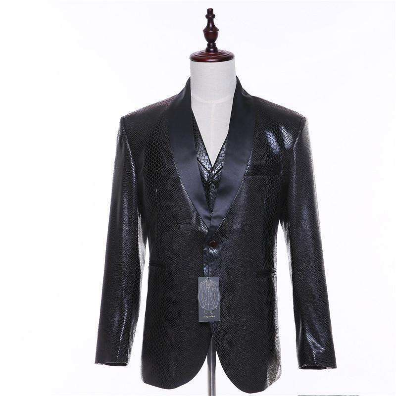 Compre Nueva Chaqueta De Traje De Otoño   Primavera De Hombres Blazer Wool  + Patrón De Piel De Serpiente Chaqueta De Traje Casual De Hombre Slim Fit  De Dos ... e61144495a1