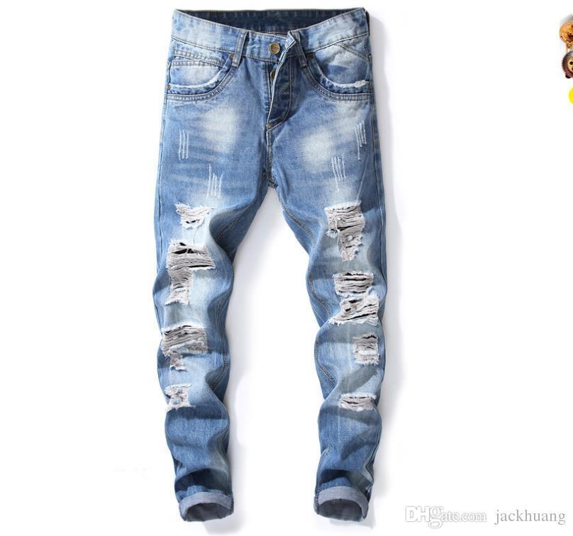 77967b41e0 Compre Nueva Marca De Los Hombres Rasgados Pantalones Vaqueros Masculinos  Ocasionales Ajustados Pantalones De Mezclilla Apenado Pantalones Largos  Envío ...