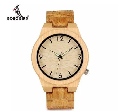 Band Bobo Bamboo Reloj De Relojes Madera Pulsera Movimiento Japonés Cuarzo Hombres Casual Bird Bambú Para c3A4jq5RL