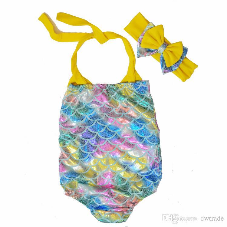 Crianças Sereia Swimwear Bow Headband + Bow Swimwear / set Biquini Sereia dos desenhos animados Crianças One Piece maiô 4 Designs