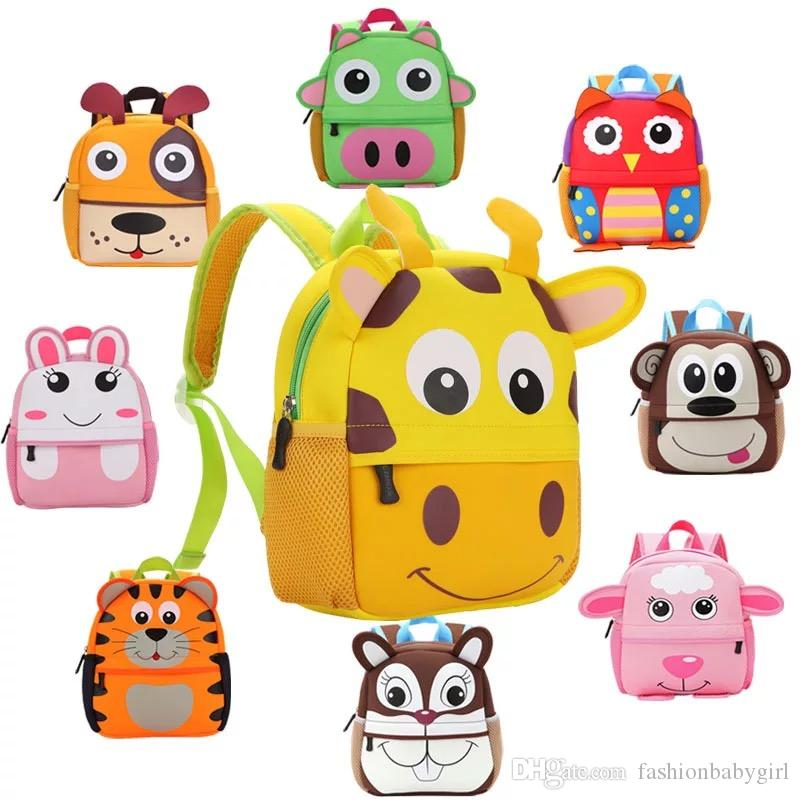 271bcd1203 10 Style Children 3D Cute Animal Design Backpack Toddler Kid Neoprene School  Bags Kindergarten Cartoon Comfortable Bag Giraffe Monkey Owl Online with ...