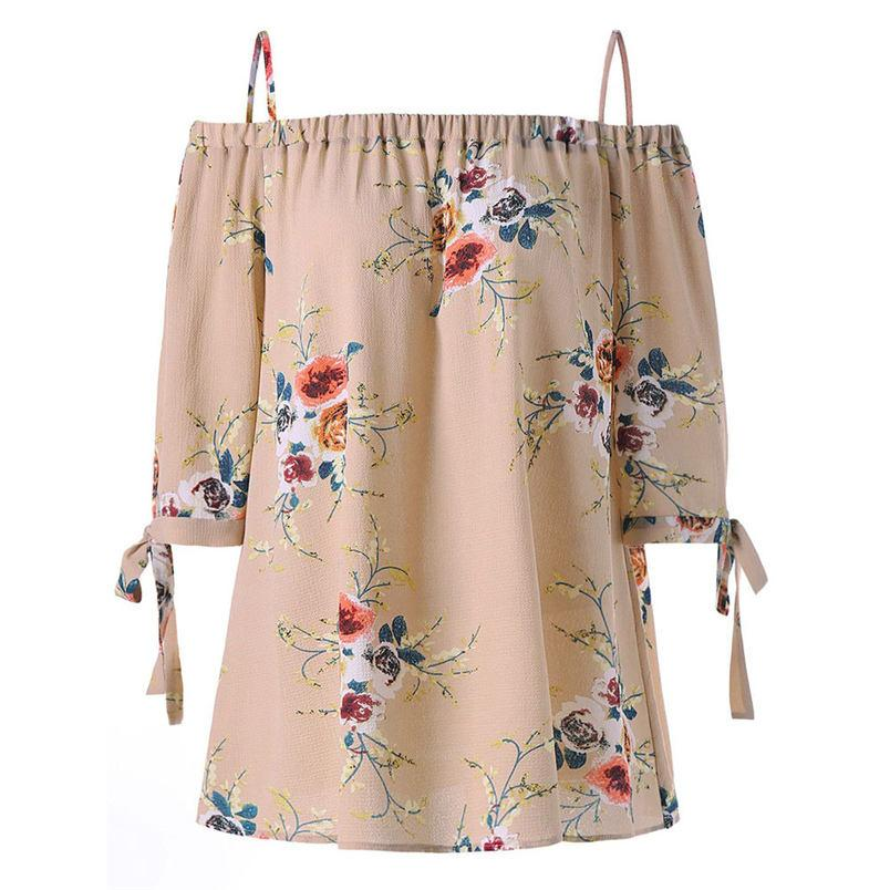 dc12ce6254cd1 Fashion Womens Tops Plus Size Floral Print Cold Shoulder Slash Neck Casual  Hot Sale Camis Tops And Wholesale  L04 Fun T Shirts Online Shirts From  Baldwing