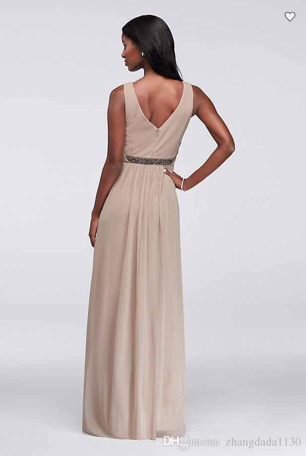 2018 New Arrival W11092 Long Mesh Dress with V-Neck and Beaded Waistband Custom Made Bridesmaid Dress