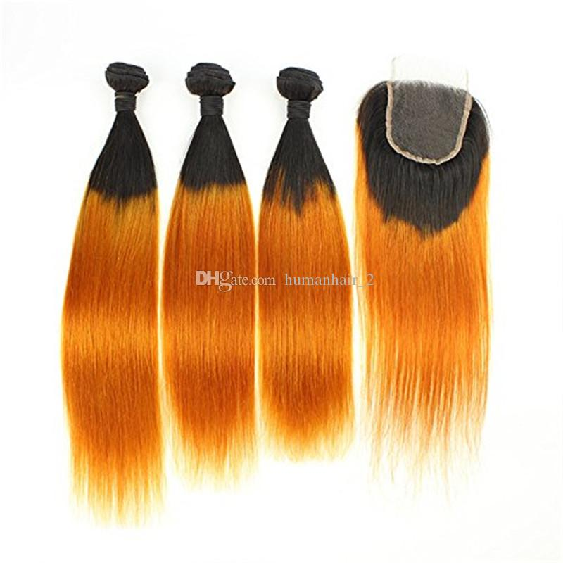 Gelbes gerades Menschenhaar mit Spitze-Schließung zwei Ton Ombre Haar 3 Bündel mit Spitze-Verschluss-peruanischem Jungfrau-Haar-4x4 Spitzenschließung