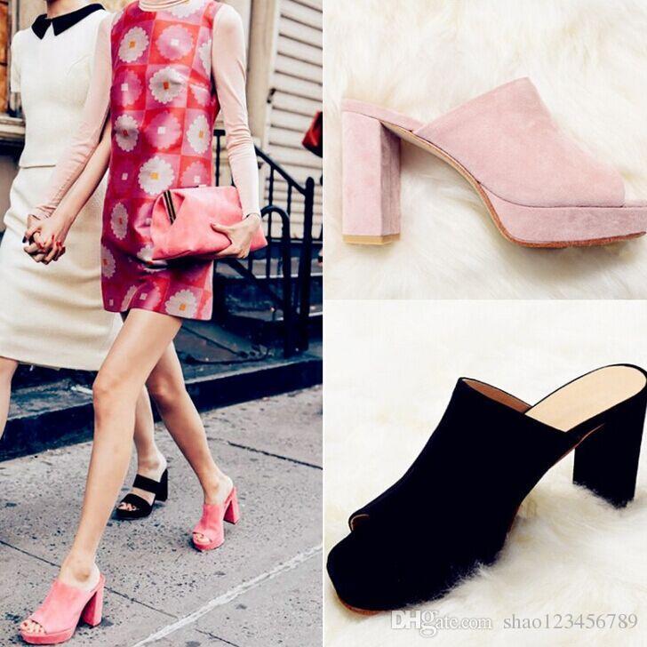 dcec2346a7 2018 Fashion Week Celebrity Women s Pink Suede Leather Platform Slides Peep  Toe Chunky Heel Mules Slip On Sandals Summer Shoes