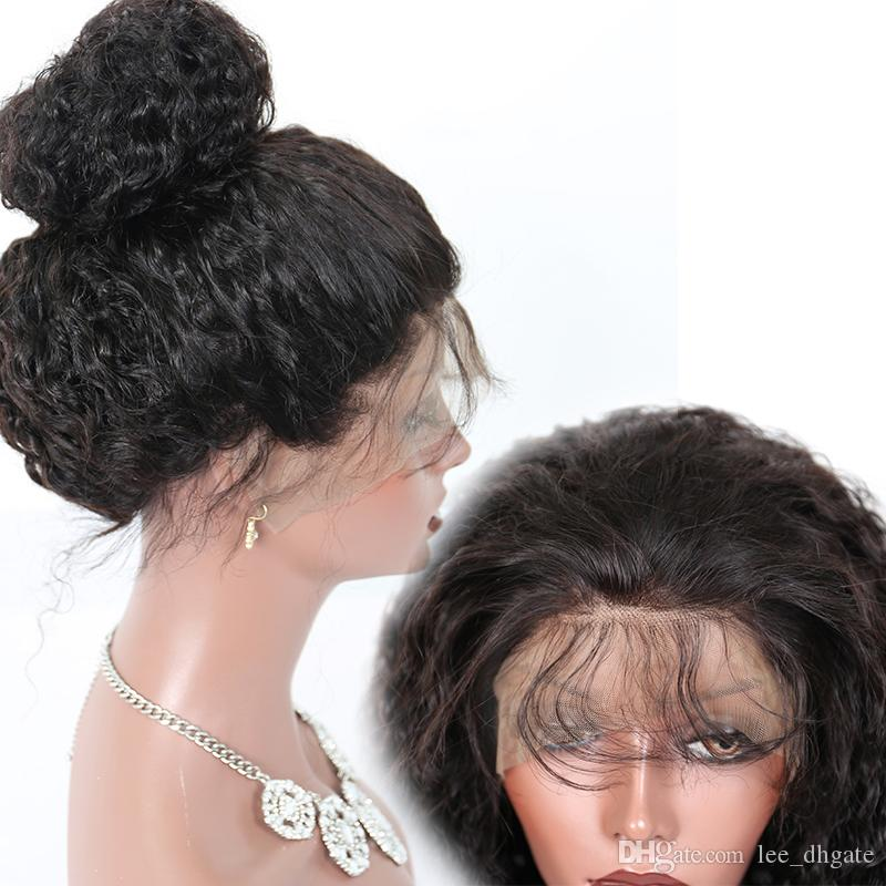 New Style Fashion Short Human Hair Wigs Ali ModaBrazilian Virgin Hair Deep Curly 8a Full Lace Natural Black Wig Lace Front Wig