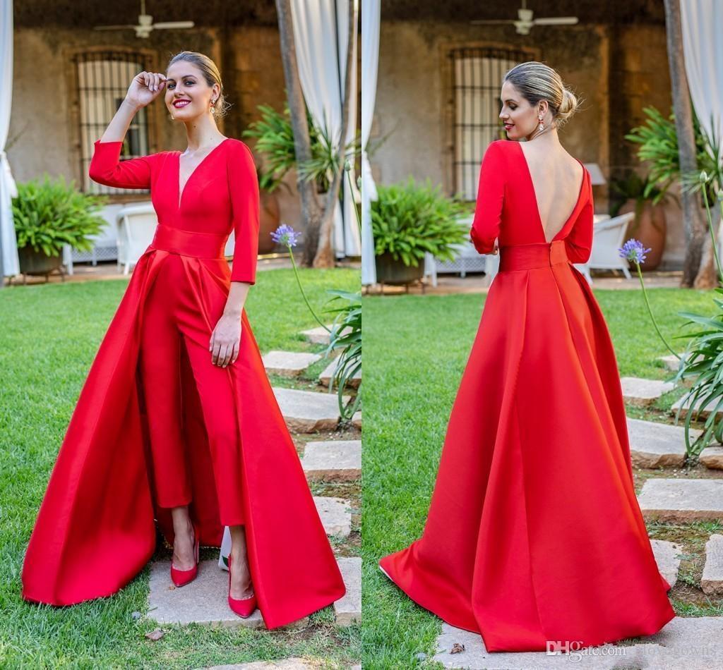 527f8ec1c Vestidos de fiesta rojos Trajes largos Vestidos de noche con 3/4 Falda de  manga larga Cuello en V profundo Vestidos de baile Pantalones para mujeres