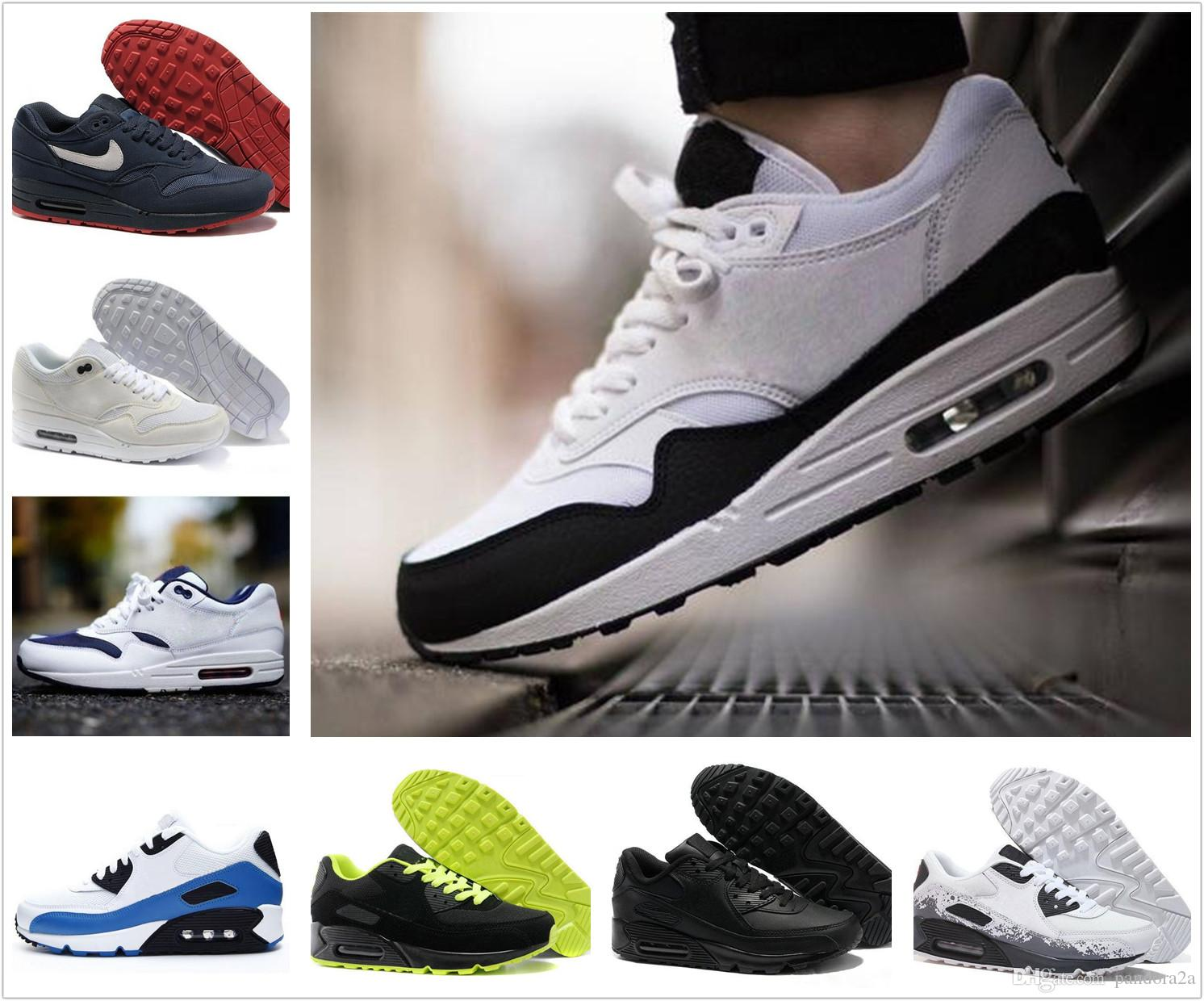 ce014668 Купить Оптом Nike Air Max Airmax 87 90 New Arrivel Бесплатная Доставка  Знаменитые 87 90 Ultra 1 Elephant Black Clear Jade White Мужская Женская  Кроссовки ...