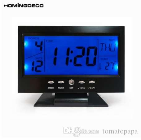 2018 Homingdeco Digital Alarm Clocks Lcd Electronic Table Clock Sound Control Smart Travel Home Office Desk From Tomatopapa