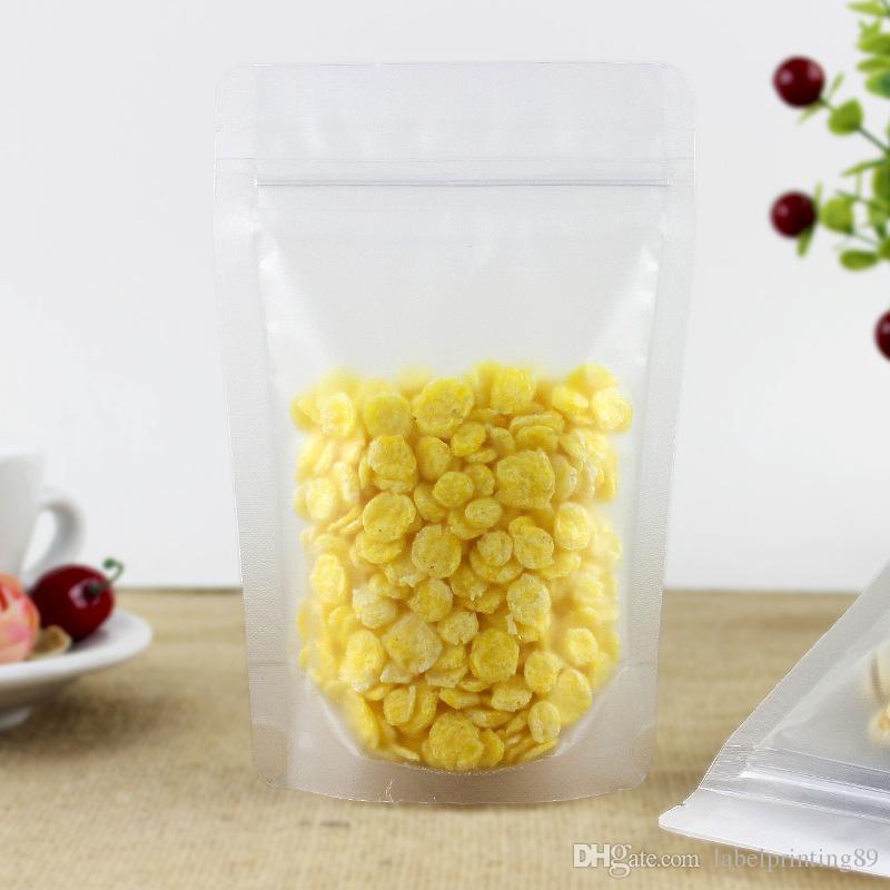 100 pz / lotto frosted clear stand pouch a prova di umidità cibo secco di stoccaggio zip blocco cibo pacchetto sacchetto pistacchi