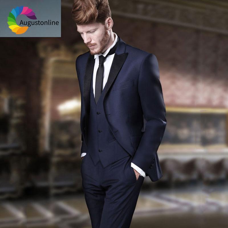 Compre Trajes De Los Hombres Azul Marino Italianos Para La Boda Negro Pico  Solapa Slim Fit Novio Esmoquin Terno Masculino 3 Piezas El Mejor Hombre  Blazers ... a9e374b56b5