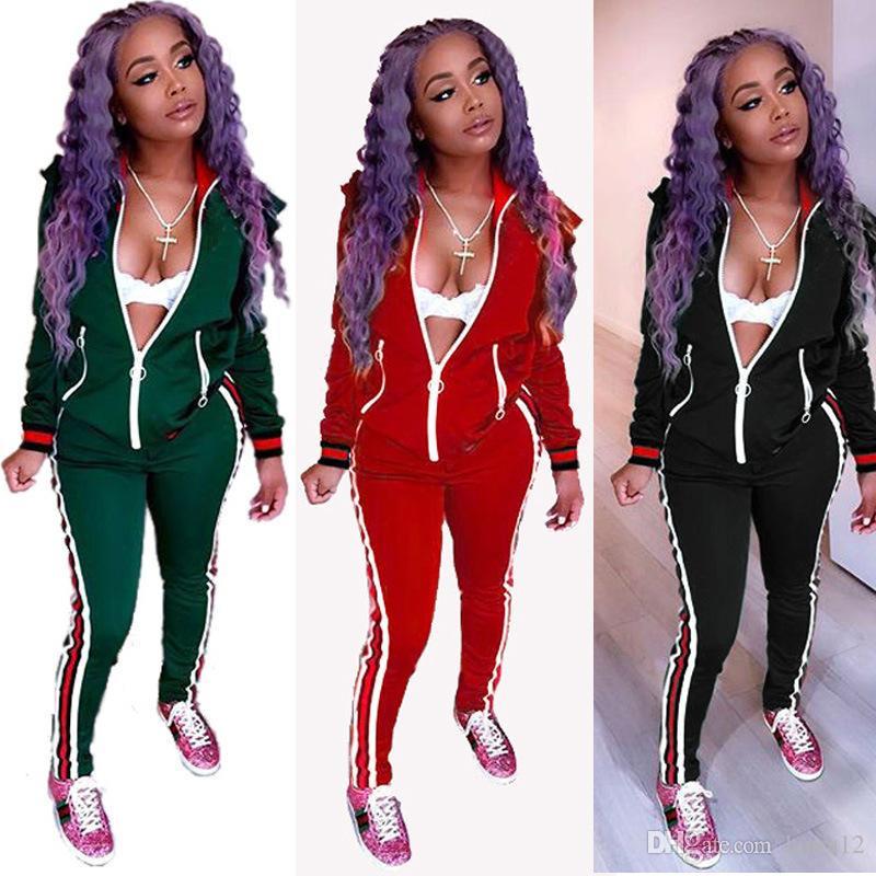 6b5dbaf4 2018 Latest Casual Women's Tracksuits New Design Long Sleeves Ruffles  Shoulder Zipper Front Coat+Pants Two Pieces Sporting Clothing Suits