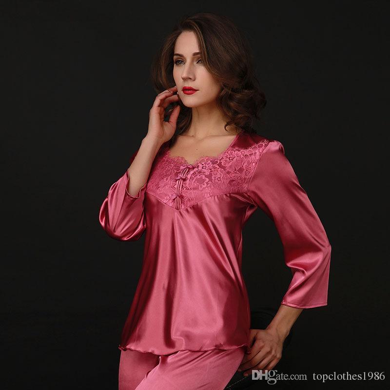 En kaliteli kadın lüks ipek Dantel Seksi Pijama Uzun kollu zarif rahat ipek ince ipek Pijama set gecelik 4 renkler