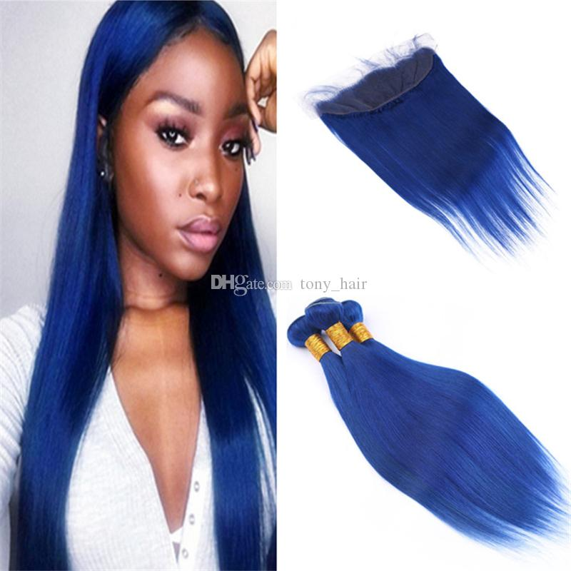 2018 Pure Colored Blue Human Hair Weave 3 Bundles With Lace Frontal