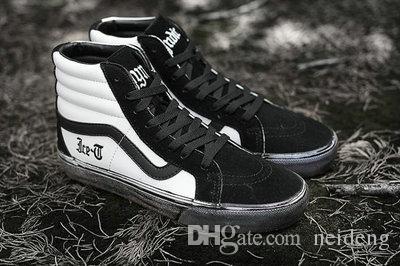 2018 SK8 Hi Buz-T Kafiye Syndicate Yüksek Üstleri Siyah Eski Kirli Rahat Kanvas Koşu Ayakkabıları Marka Kadın Erkek Kaykay Sneakers