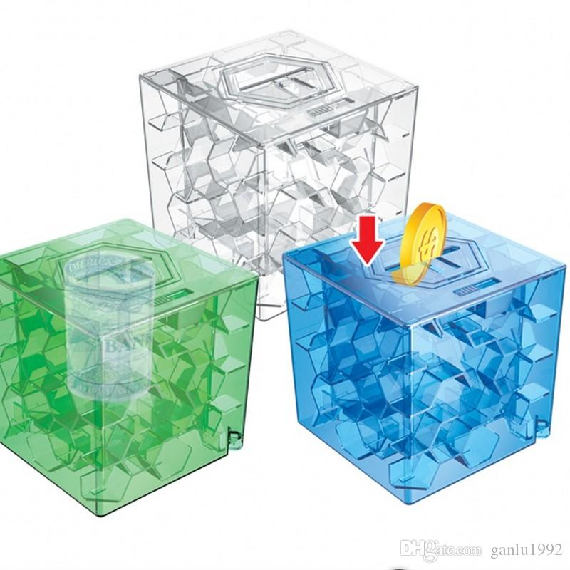 Intelligence Maze Piggy 3D Three Dimensional Transparent Coin Box Children Developmental Labyrinth Ball Learning Education Toys 3 68xz W