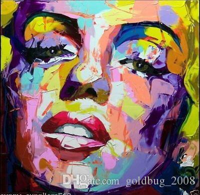 Hand-painted Canvas Oil Painting Portrait Wall Art Figure Marilyn Monroe Face