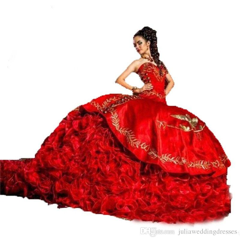 7f5210d1a90 2018 New Luxurious Red Ball Gown Gold Embroidery Quinceanera Dresses  Crystals For 15 Years Sweet 16 Plus Size Prom Party Gown QC1025 Quinceanera  Traditions ...