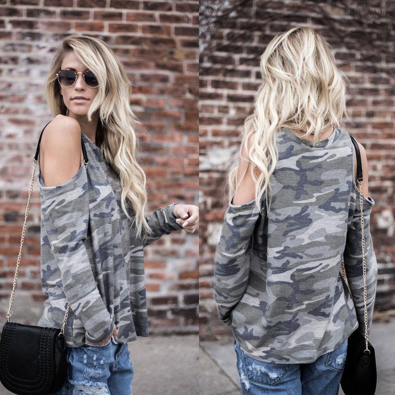 54edb754ad530 Camouflage T Shirt Women Long Sleeve Cold Shoulder Tops 2018 Autumn Loose Tees  Sexy Ladies Round Neck Cut Out T Shirt Best Funny Shirts Funny Print Shirts  ...