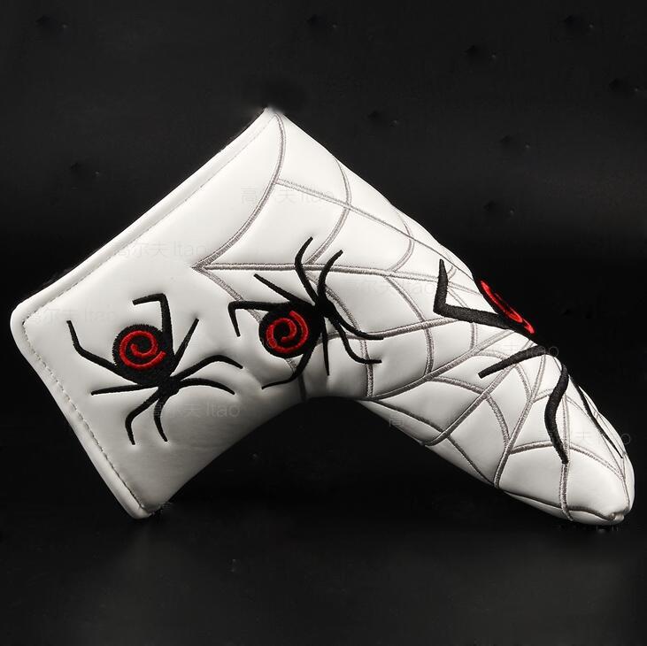Yeni Örümcek Gümüş Web Golf Ile Atıcı Kapak Için Başörtüsü Bıçak Golf Atıcı Beyaz Siyah Kafa Kapak Ücretsiz Kargo