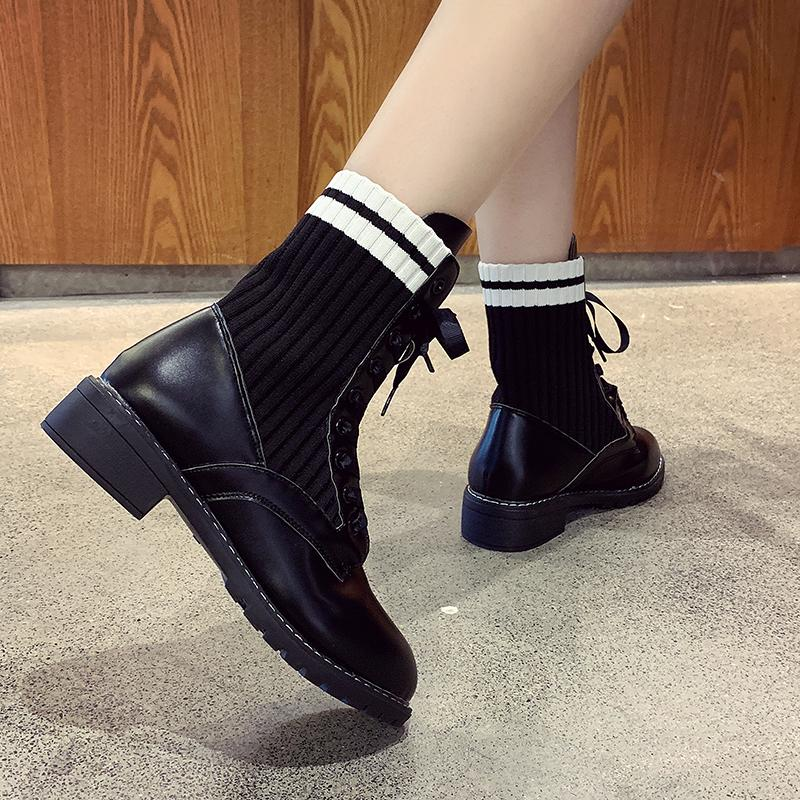British Style High Top Knitted Socks Boots Femme Woman Famous Designer Sewn  Motorcycle Botas Patchwork Women Martin Boots Shoes High Heels Heels From  ... 7b975f9b93d2