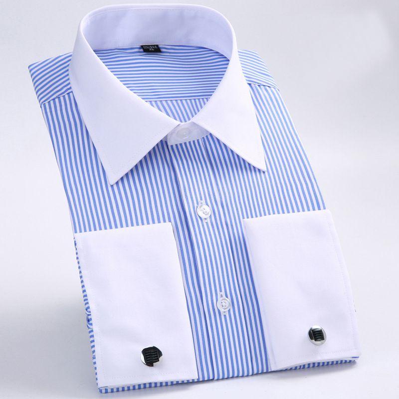 2019 Men S Slim Fit Non Iron Patchwork Point Collar Dress Shirt