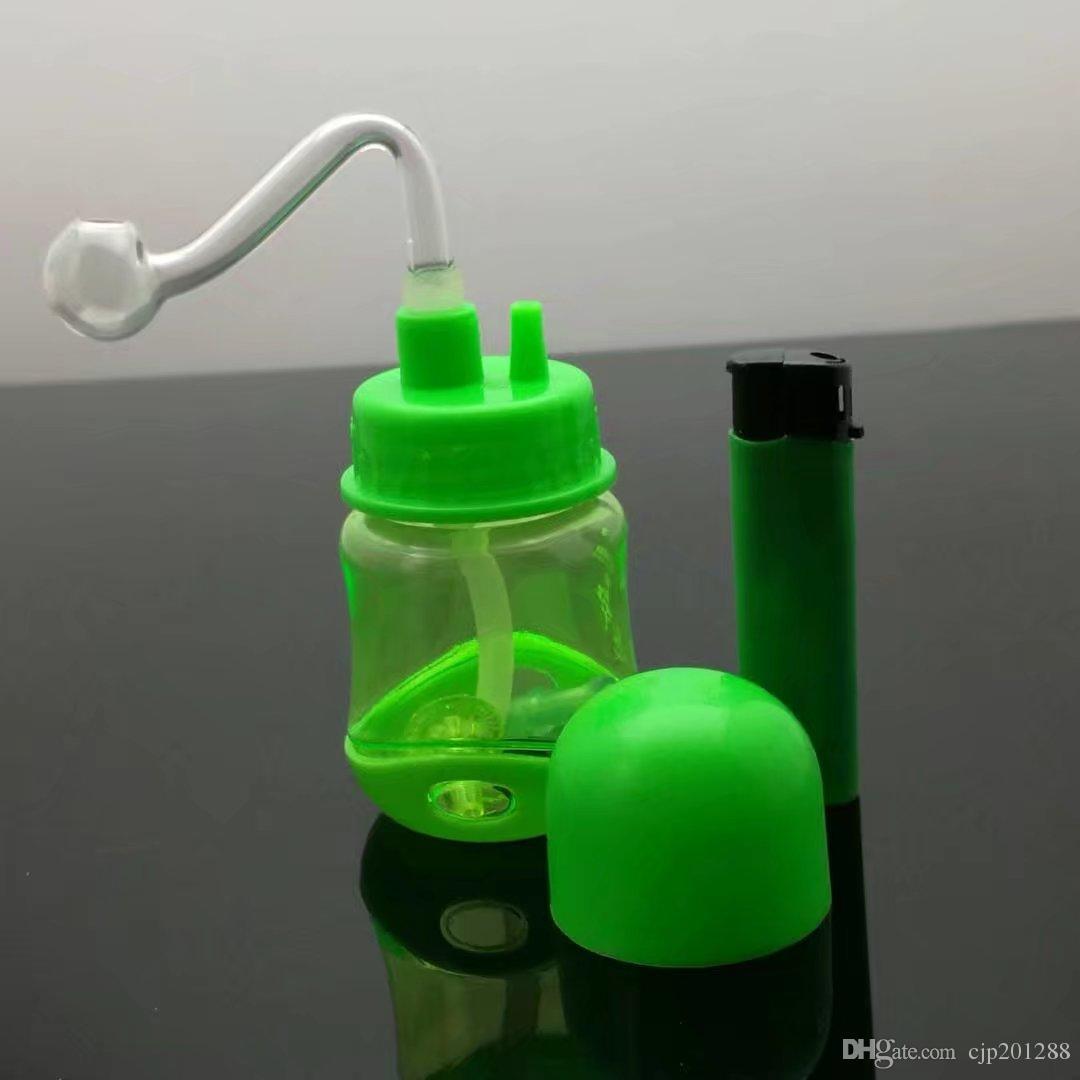 Colorido pote garrafa de plástico Atacado bongs de vidro queimador de óleo tubulações de água de vidro plataformas petrolíferas para fumantes
