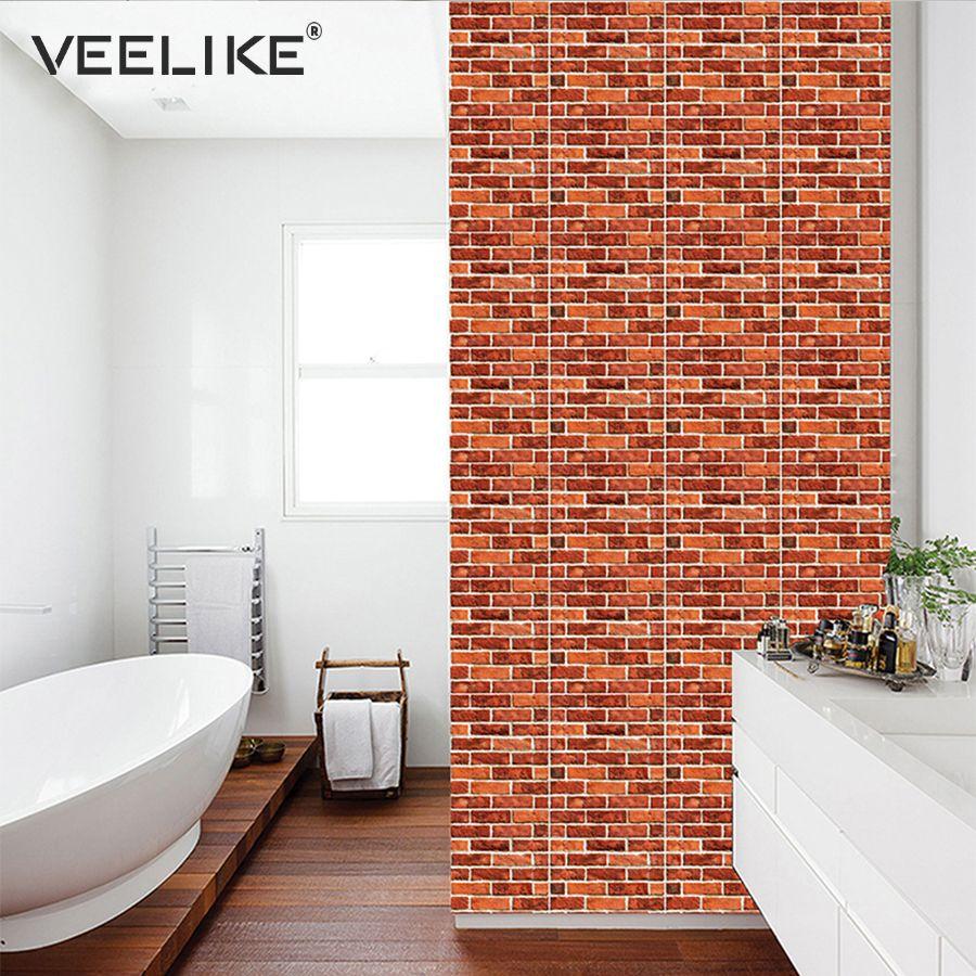 3d Wall Panel Brick Stone Rustic Effect Self Adhesive Wallpaper For