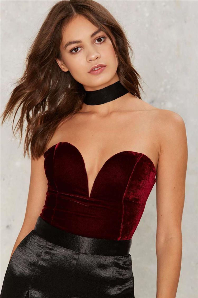 Acheter Femmes Or Velours Sexy Seins Bretelles Strap One Dress Robe Femme Combinaison -2238