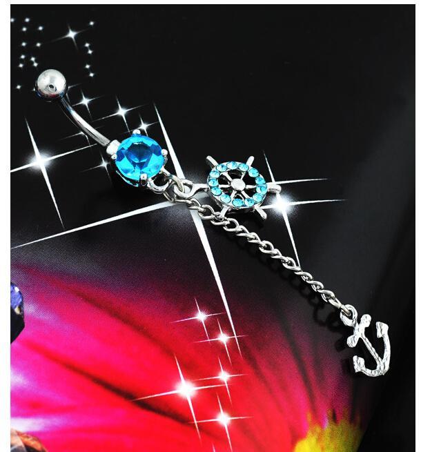 Quirúrgico de anclaje joyería del cuerpo de acero Piercing ombligo percing ombligo anillo de la barra Pircing cristal borla del vientre joyería piercing 1p
