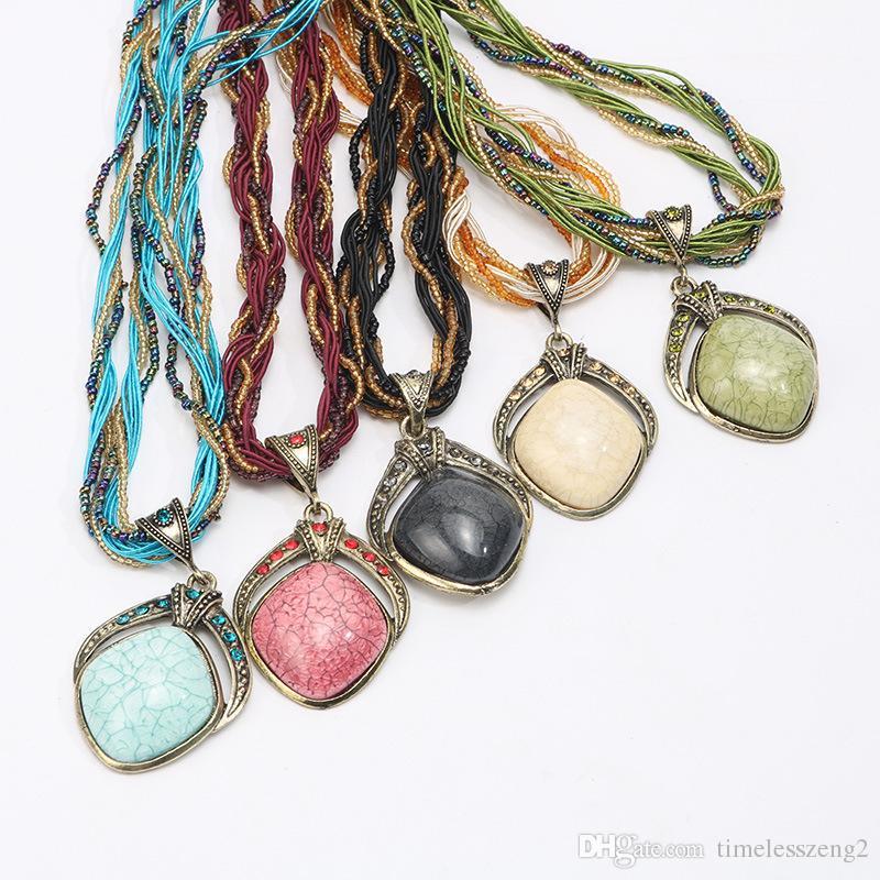 Niza Bohemia collar de piedras preciosas de pavo real colgante collares collar de estilo folk retro niña regalo de cumpleaños joyería es envío gratis