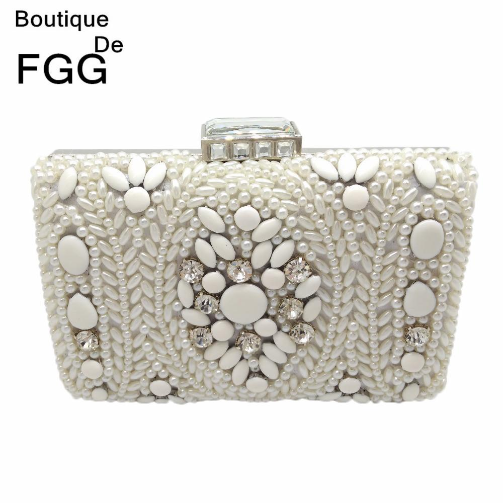 Boutique De FGG Hand Made Women White Beaded Evening Clutch Bag Hard Case  Metal Wedding Party Cocktail Beading Handbag And Purse Y18102404 Leather  Bags For ... a8cb42b1b5bd