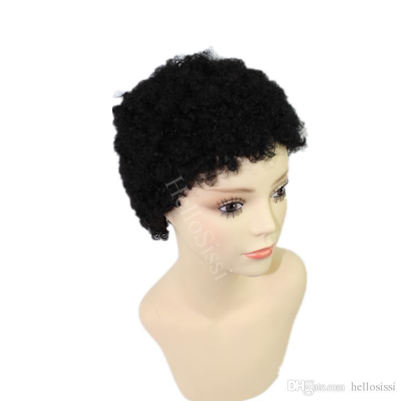 pelucas brasileñas baratas del pelo humano ninguna pelucas muy cortas sin cordones del cordón pelucas del pelo humano para las mujeres negras