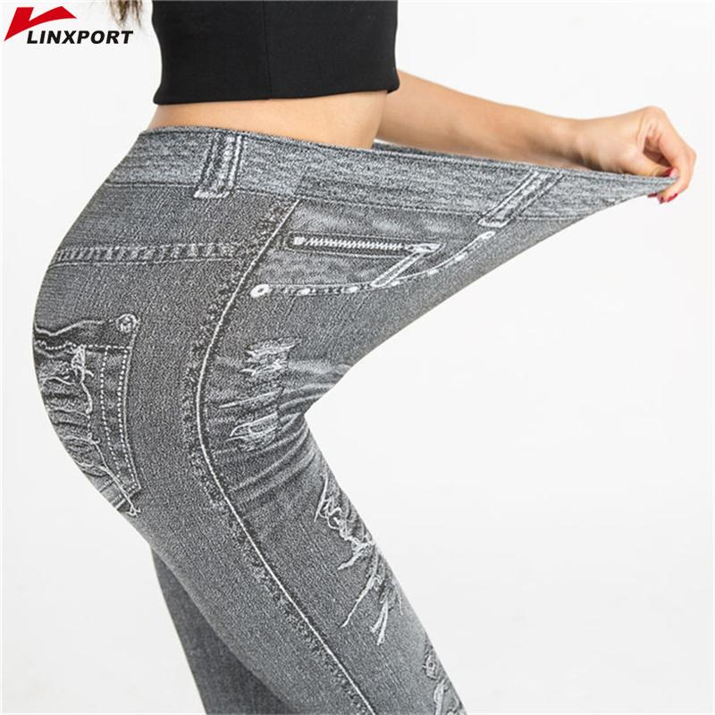 c3ec322bcb4ac 2019 Women Workout Faux Denim Jean Leggings Sexy Yoga Pants Dry Fit Sport  Pencil Pant Elastic Fitness Gym Pants Running Tight Capris From  Newhappyness, ...