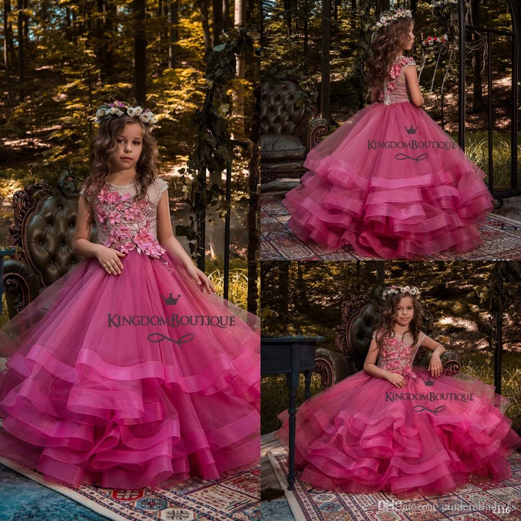 2018 Beautiful Fuchsia Flower Girls Dresses Cap Sleeves With Tulle ...