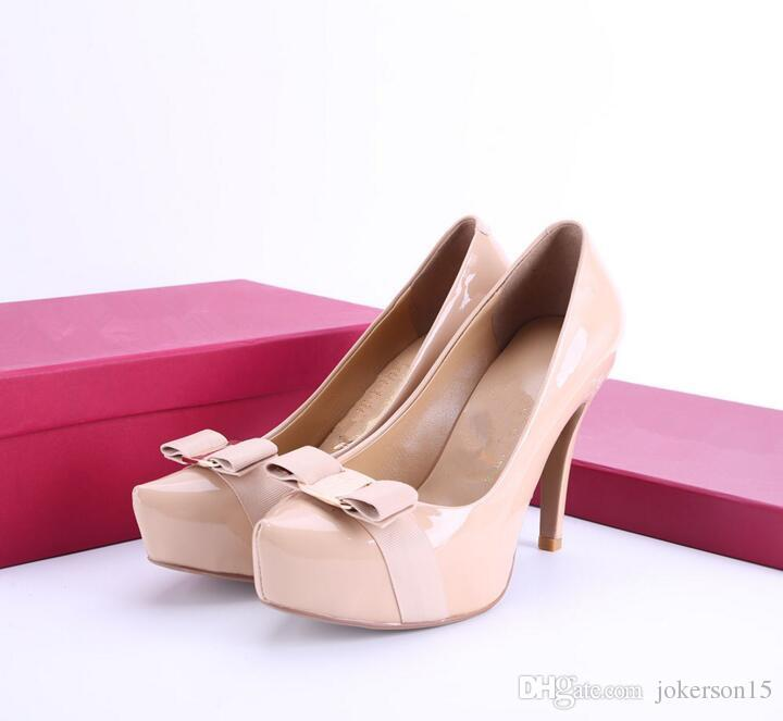 eb0ea1ce8873 New 2019 Women Bowtie High Heel Shoes European Brand Designer Chunky ...