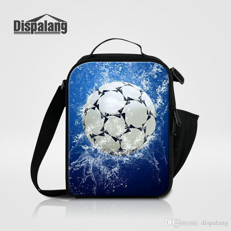d3edae68d6fb Cool Soccer Insulated Lunch Bags For Kids School Thermal Cooler Bag For  Teenage Boys Football Printing Men Mini Food Messenger Lunch Box Ba