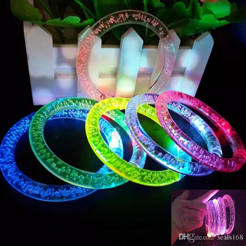 Led Glitter Bracelet Bandgle LED Crystal Gradient Color Hand Ring Acrylic Glow Flash Light Sticks Party Dance Xmas Supplies TOys HH7-1447