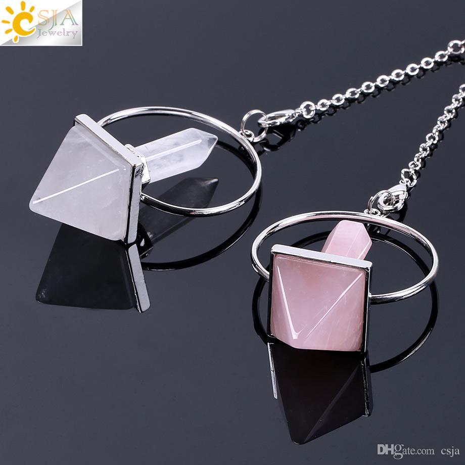 CSJA Natural Stone Crystal Reiki 7 Chakra Amulet Fashion Prism Pendulum Hexagonal Pyramid Amethyst Dowsing Pendant Rainbow Bead Jewelry F057
