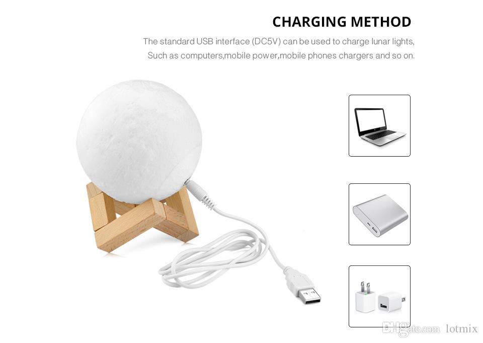 2 Изменение цвета 3D печати Луна лампа ночник Сенсорный выключатель спальня книжный шкаф Home Decor творческий подарок стол настольная лампа