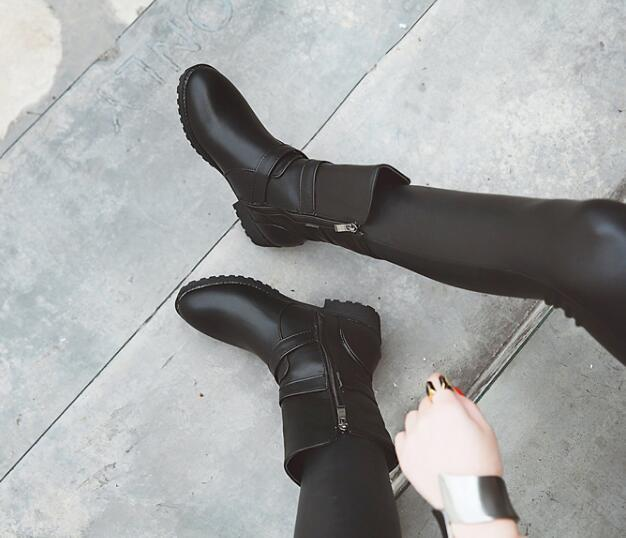 21f2c8c611 New Martin Boots Low Heel Round Toes Woman Shoes Womens Zip Buckle Ankle  Boots winter