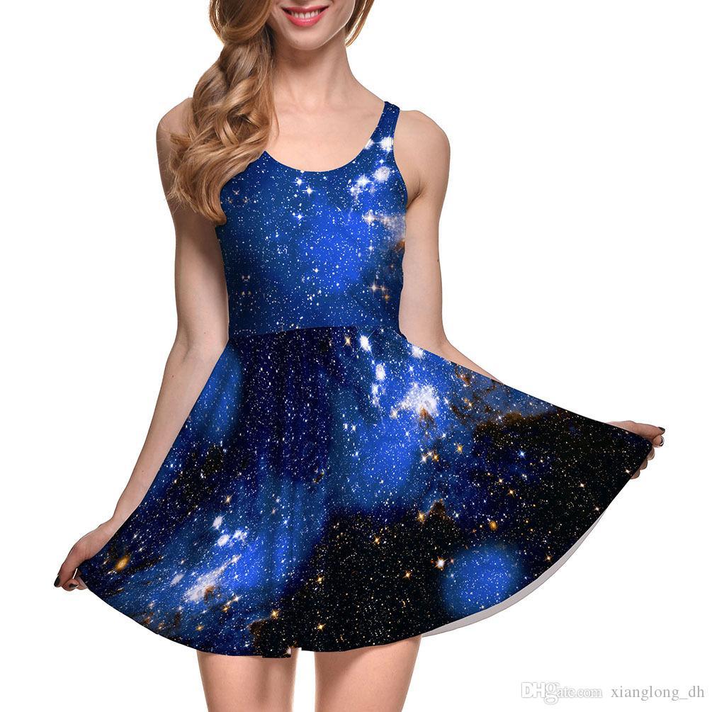 a4cfe5b68e573 Compre NUEVO 1031 Tallas Grandes Verano Mujer Vestido Galaxia Azul Cielo  Estrellado Nebulosa Impresiones 3D Reversible Chaleco Skater Sexy Girl  Vestido ...