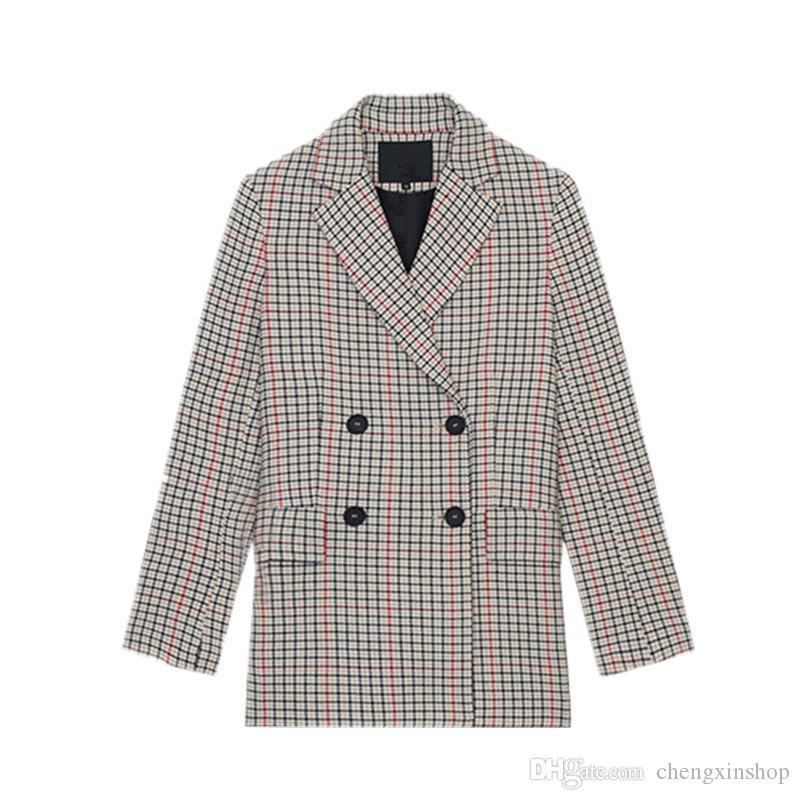 Liefern Frauen Plaid Blazer Jacke Mantel Casual Elegante Single Button Kerb Büro Dame Outwear 2018 Herbst Frühling Weibliche Kleidung Blazer