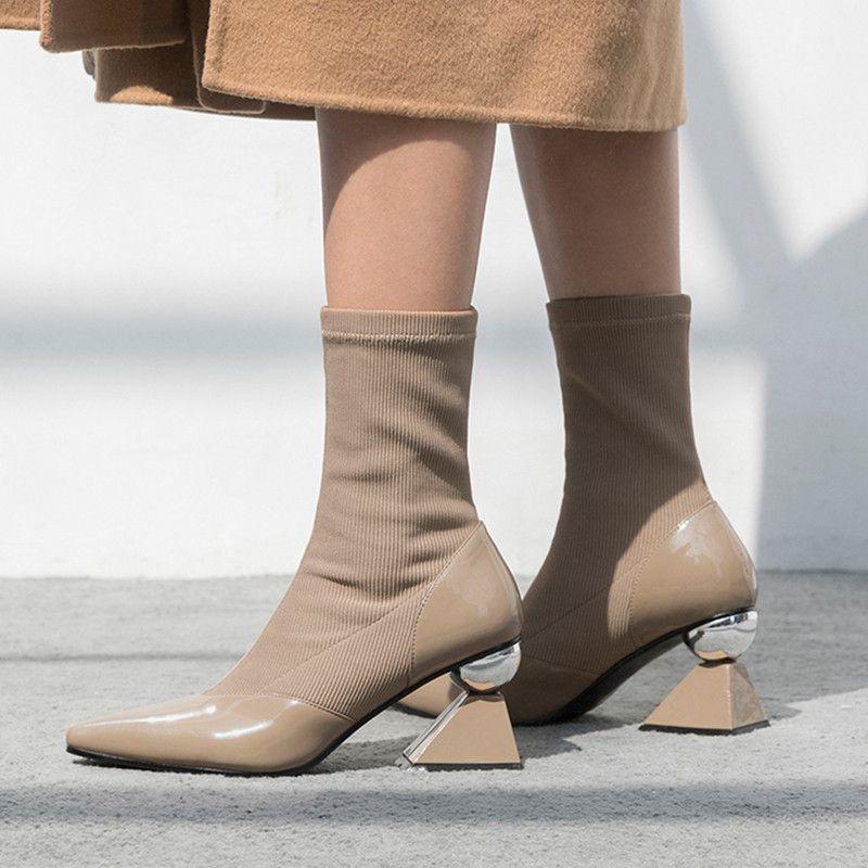 77fa31f02be0 Großhandel Sexy Spitz Frauen Kurze Winterstiefel Mode Socke Chelsea Booties  Damen Schuhe Seltsame 7 Cm High Heels Damen Botines Mujer Von Delina, ...